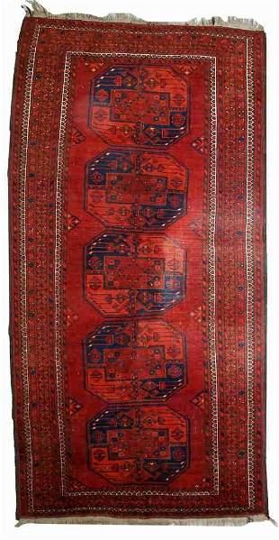 Handmade vintage Afghan Ersari rug 3.7' x 7.5' (114cm x