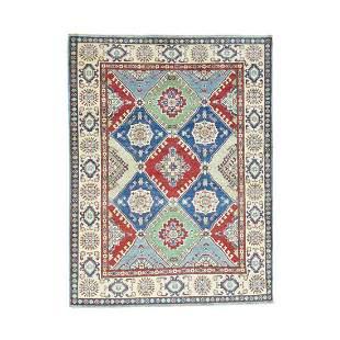 Hand-Knotted Kazak Tribal And Geometric Design Pure