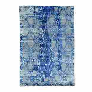 Hand-Knotted Wool And Silk Abstract Design Oriental Rug