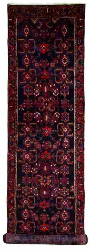 "Hand-knotted Hamadan Wool Rug 3'8"" x 14'6"""