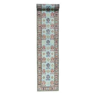 Hand-Knotted Kazak Pure Wool XL Runner Tribal Design