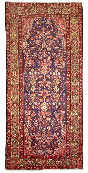 """Hand-knotted Malayer Wool Rug 5'6"""" x 11'3"""""""