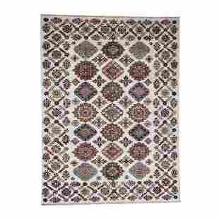 Caucasian Design Super Kazak Pure Wool Hand-Knotted