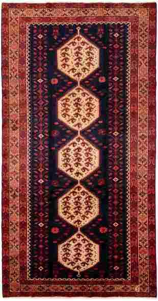 "Hand-knotted Hamadan Wool Rug 5'3"" x 10'1"""