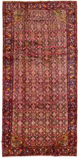 "Hand-knotted Hamadan Wool Rug 4'7"" x 11'8"""