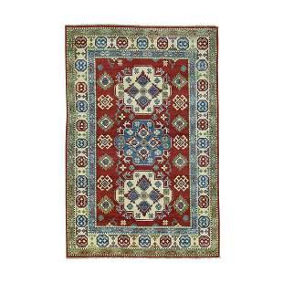 Hand-Knotted Kazak Tribal and Geometric Design Oriental