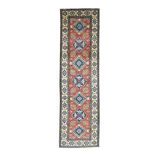 Red Hand-Knotted Geometric Design Pure Wool Runner