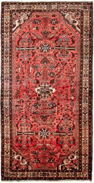 "Hand-knotted Hamadan Wool Rug 5'3"" x 10'4"""
