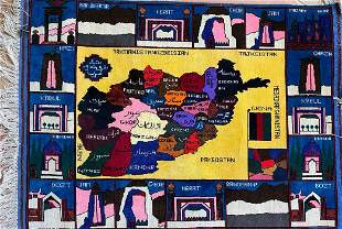 """Afghan Hand Knotted Rug , Afghanistan Map. 43"""" x 30"""","""