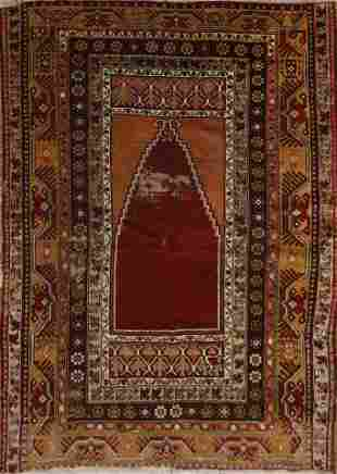 Antique Anatolian Turkish Oriental Area Rug 4x5