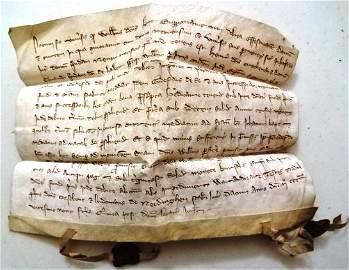 1329 Medieval Vellum Legal Manuscript Seals
