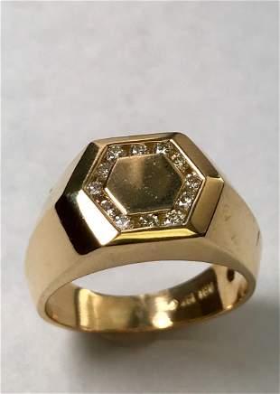 18 K Yellow Gold Diamond Unisex Ring