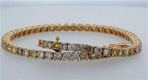 14k Pink  Gold Tennis bracelet  with  diamonds