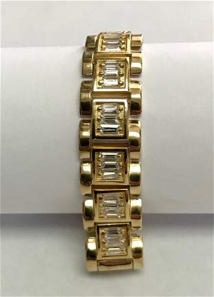 10 K Yellow Gold Baguette Simulated Diamond Link