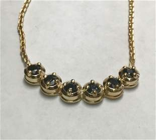 14 K Yellow Gold 2.00 CTW Sapphire Necklace.