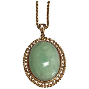 14 K Yellow Gold Jade Pendant/Rope Necklace