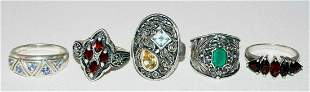 5Pc Sterling Ring Sz.7/8/9 Mixed Lot Aquamarine, Garnet