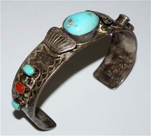 Navajo Sterling Slvr Bracelet Turquoise Coral by W Long