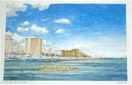 Orig WC Painting Ala Wai Yacht Harbor by L Segedin