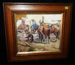 Oil Painting Cowboy Breaking a Bronc Nick Eggenhofer