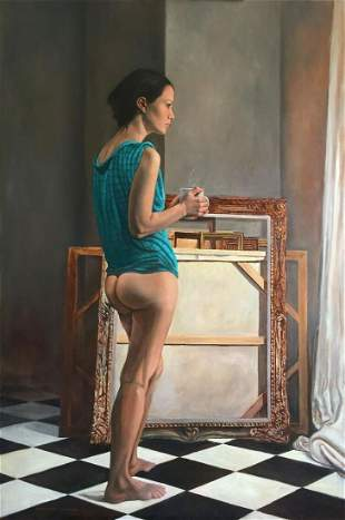 Framed Oil Painting Morning Coffee Nude  Snowden Hodges