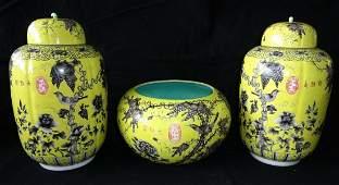 3PC Chinese Grisaille Yellow Ground Dayazhai Jars &