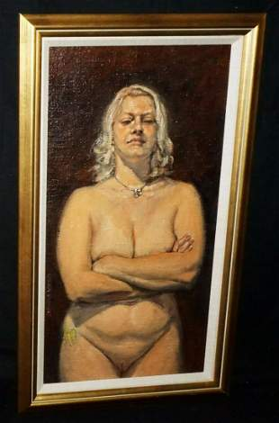Oil Painting Female Nude Amber w Attitude Snowden