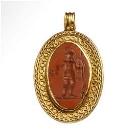 Roman Gold Pendant, Jasper Intaglio with Mars, c. 2nd