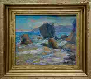 Oil painting Waves breaking on the rocks Kalashnik