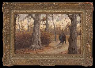 Landscape with Sycamores, Couple Strolling in Woods