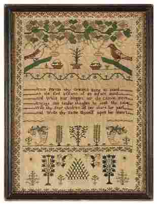 Needlework Sampler, Edith Ann White Her Work, C 1818,