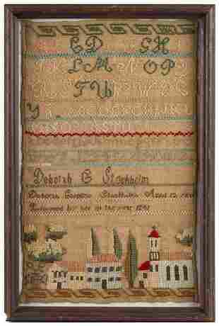 Needlework Sampler, Village Scene, By Deborah Stockholm