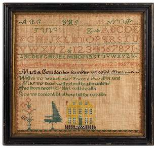 Needlework Sampler Martha Congdon, 1822,