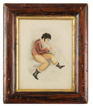 Watercolor, Boy with Flute