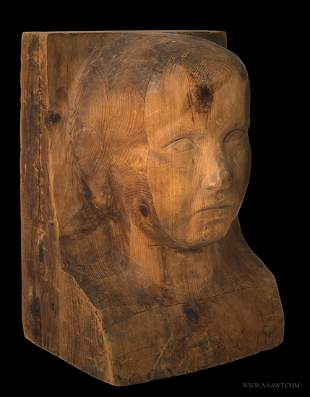 Carved Head, Folk Portrait Bust of Child