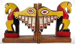 Bookends, Northwest Coast Carved and Painted, Ravens
