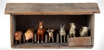 7 Paper Mache Farm Animals with Barn Stall