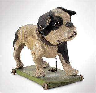 Paper Mache Bulldog Pull Toy, German