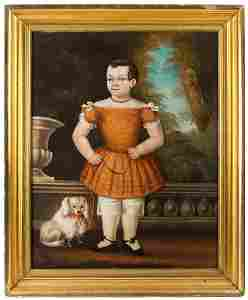 Full length Portrait, Child with Dog on Portico