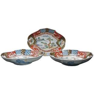 Three Japanese Meiji/Taisho Imari Lozenge Dishes