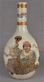 19c Satsuma vase RAKAN with Benten & attendant