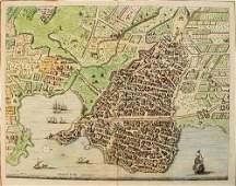1724 Blaeu/Mortier Birds Eye View of Syracuse --