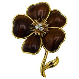 Van Cleef and Arpels Yellow Gold, Wood and Diamond