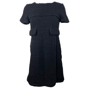 Chanel Black Wool Tweed Short Sleeves Mini Dress Size