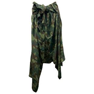 Faith Connexion Green Camouflage Silk shirt Skirt Size