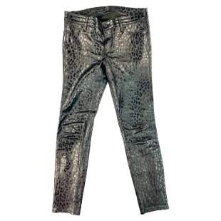 RTA Black Leather Animal Print Skinny Pants Jeans Size
