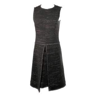 Chanel Black Tweed and Metallic Sleeveless Midi Dress