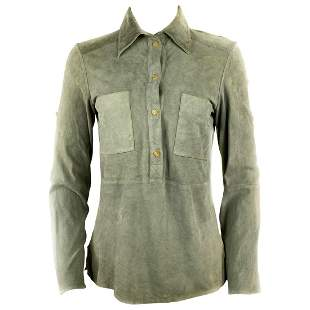 Celine Grey Green Olive Suede Button-Down Shirt Top