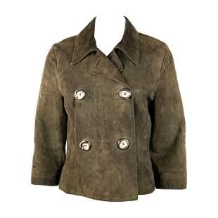 Vintage CELINE Brown Suede Animal Print Blazer Jacket