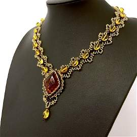 Unique and Alluring Amber Cleopatra necklace